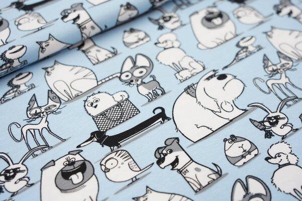 Baumwoll-Jersey Digitaldruck Pets Haustiere auf hellblau Hund Katze Hase Vogel