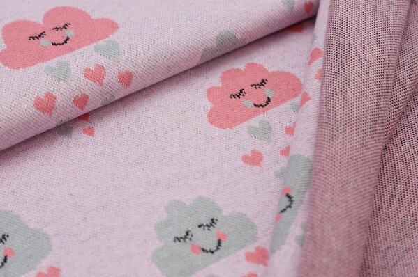 Jacquard-Sweat Ben taupe hellgrau / koralle Herzchen und Wolken auf rosa