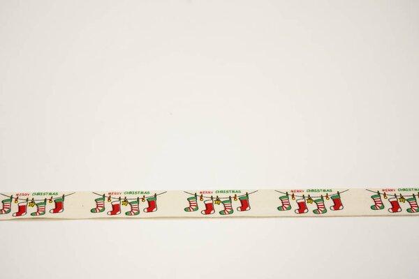 Webband Nikolaussocken Weihnachten auf natur 15 mm Zierband Dekoband