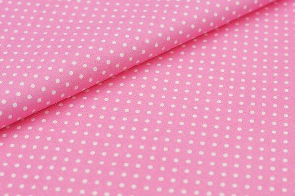 Baumwollstoff Baumwolle kleine Punkte rosa / weiß