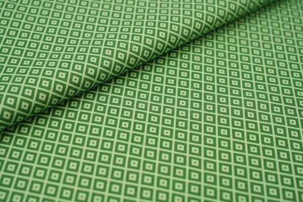 Baumwolle abstraktes Retro Muster Vierecke Geometrie grün / hellgrün