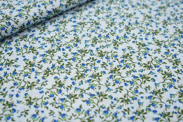 Baumwollstoff Strauch mit Blumen auf hellblau