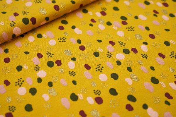 Baumwoll-Jersey bunte Punkte Tupfen mit Glitzer senf / rosa / grün / gold