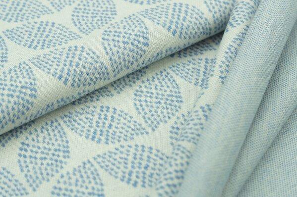 Jacquard-Sweat Mia pastell jeansblau Melange Blätter Muster auf off white