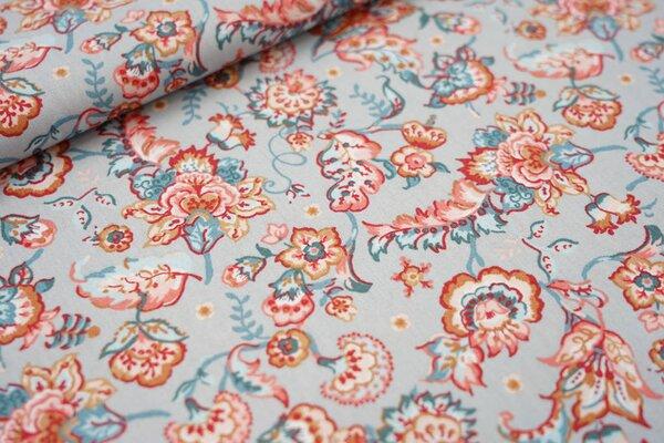 Baumwolle mit bunten Blumenornamenten auf hellgrau