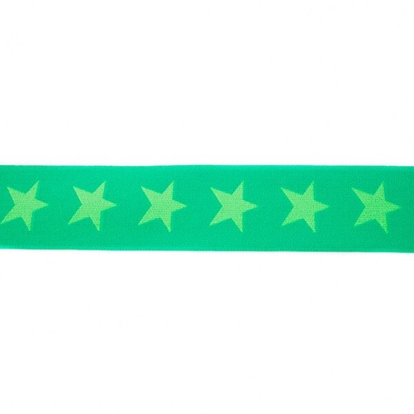 Breites Gummiband 40 mm Sterne apfelgrün / limettengrün