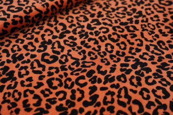 Nicki Velours Stoff kleines Leopardenfell Muster rostorange / schwarz