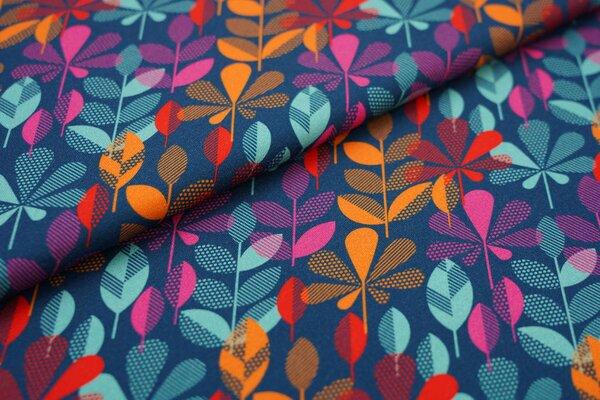 Traumbeere Baumwoll-Jersey Digitaldruck bunte Blätter petrol / mint / pink / orange / rot