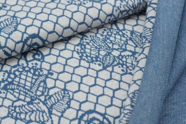 Jacquard-Sweat Ben taupe blaues Blumen Muster auf off white