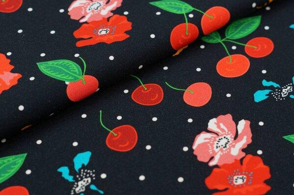 Baumwoll-Jersey Digitaldruck Kirschen Kirschblüten Blumen Punkte auf schwarz