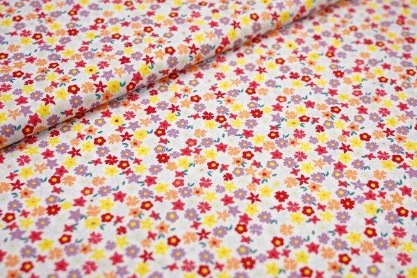 Baumwoll-Stoff mit bunten Blumen auf weiß