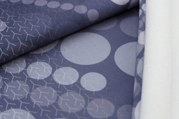 Softshell-Stoff mit Kreisen / Punkten blau / grau / lila mit weißer Innenseite