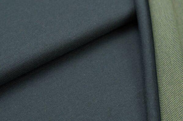 Jacquard-Sweat Ben dunkelgrau Uni mit dunkelgrauer und hellgrüner Rückseite