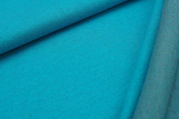 Jacquard-Sweat Ben türkis Uni mit dunkelgrauer und hellgrauer Rückseite