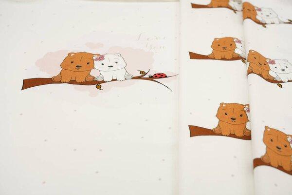 Panel Baumwoll-Jersey Bärchen auf Baum mit Marienkäfer off white Digitaldruck