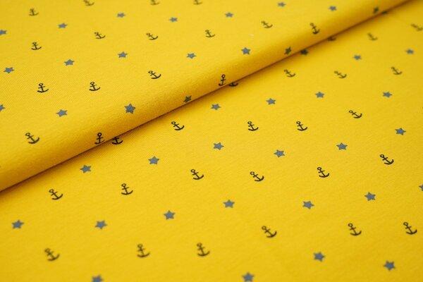 Baumwoll-Jersey Anker Sterne grau navy dunkelblau auf senf