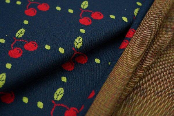 Jacquard-Sweat Ben Kirschen und Punkte dunkelblau mit hellgrün / rot