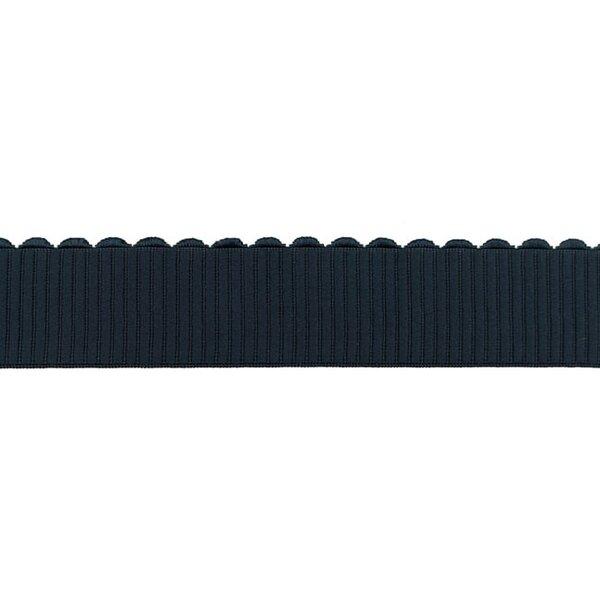Breites Gummiband uni mit Spitze in Wellen-Form marine blau 40 mm