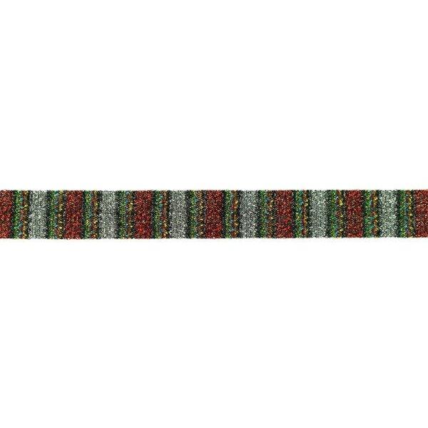 Glitzer Schrägband mit bunten Streifen rot silber 20 mm Zierband Glitzerband