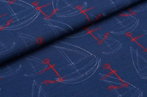 Baumwoll-Jersey Digitaldruck Segelschiffe und Anker rot weiß auf marineblau