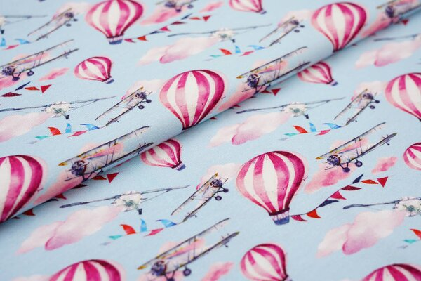 Baumwolljersey Digitaldruck Flieger Heißluftballon Wolken hellblau / bunt