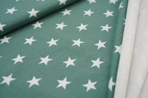 Baumwoll-Sweat große Sterne altgrün / hell mint