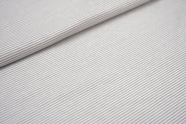 Interlock Jersey schmale Streifen weiß / hellgrau maritim