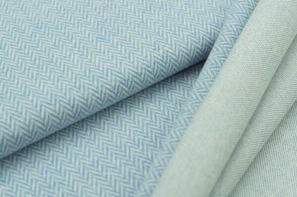 Kuschel Jacquard Moritz Fischgrätenmuster pastell jeansblau Melange off white