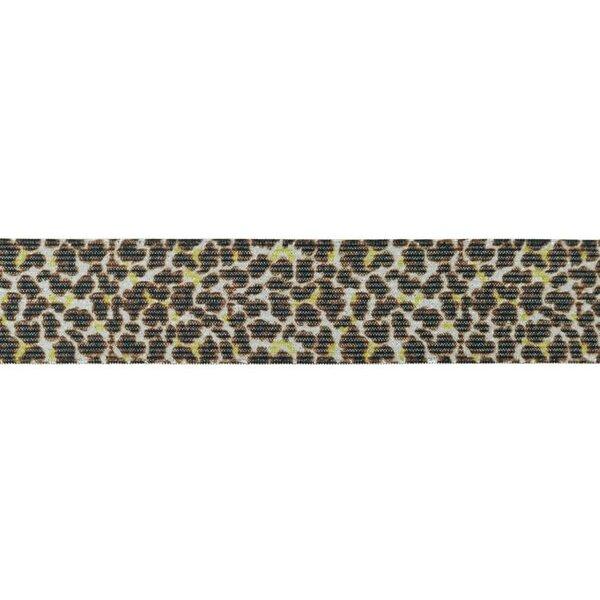 Gummiband mit Tierdruck und Glitzer Panther Fell braun 35 mm breit