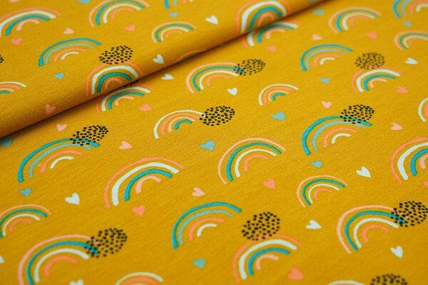 Baumwoll-Jersey Regenbögen Punkte und Herzen auf senf Regenbogen