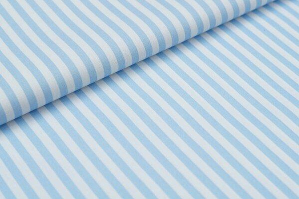 Baumwollstoff Baumwolle Streifen hellblau / weiß