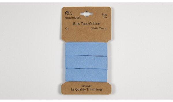 3 m Schrägband Baumwolle uni hellblau 20 mm breit