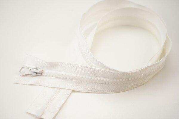 Reißverschluss off white Teilbar 6 mm Krampenschiene Autolock Schieber 40-100cm
