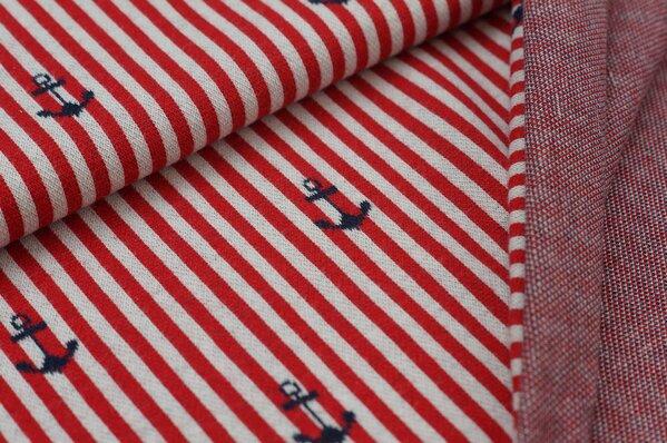 Jacquard-Sweat mit Ankern Streifen rot / off white / navy blau