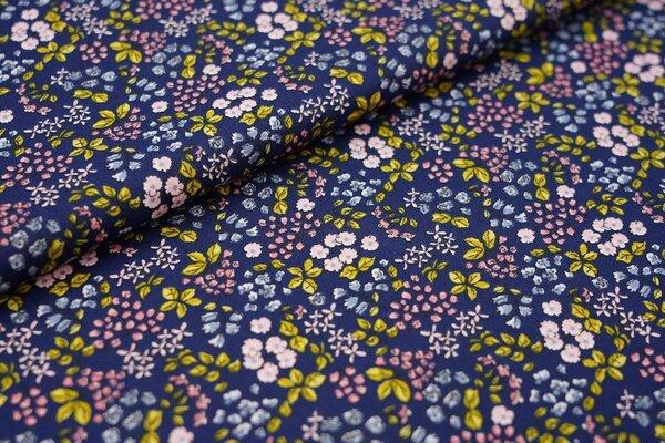 Baumwolle mit Blumen dunkelblau / rosa / olivgrün / blau / koralle