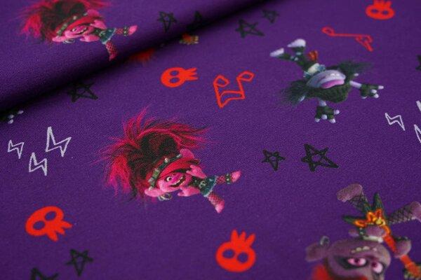 Baumwoll-Jersey Digitaldruck Gothic Punk Trolls auf lila