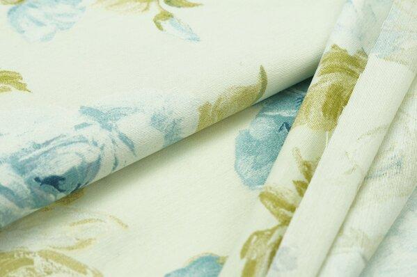 Dekostoff Rosen Blumen creme / grün / blau