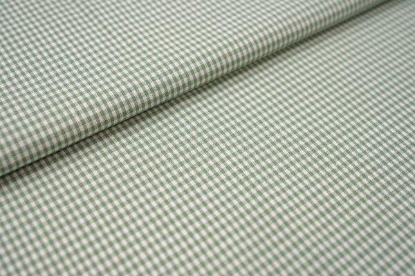 Baumwollstoff Baumwolle vichykaro Karomuster sehr klein kariert weiß / minzgrün