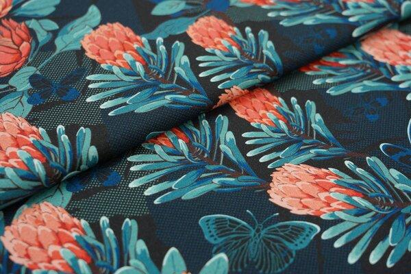 Baumwoll-Jersey Digitaldruck Blumen Schmetterlinge schwarz / koralle / eisblau
