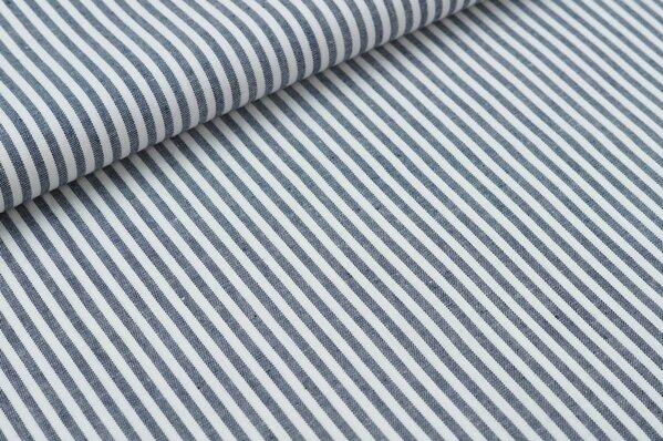 Baumwollstoff Baumwolle Streifen sehr dunkelblau / weiß meliert