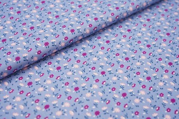 Baumwollstoff mit kleinen Blumen rauchblau / violett / rosa / weiß / petrol blau