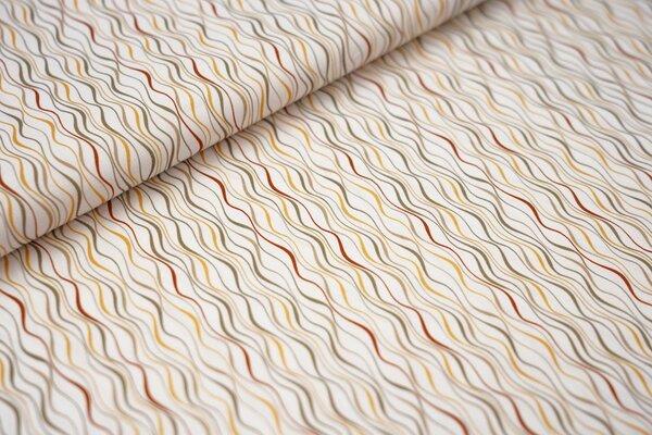 Baumwollstoff mit Wellenlinien weiß / gelb / rostbraun / beige / khaki grün