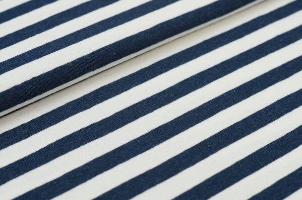 XXL Jersey Maya Streifen Ringel mittel navy blau melange / off white