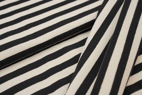Traumbeere XXL Baumwoll-Sweat Marie Streifen Ringel mittel schwarz und off white