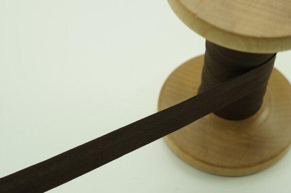 Schrägband Baumwolle 1,5 cm breit uni dunkelbraun 1 m