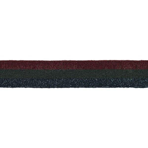 Elastisches Zierband mit Streifen und Glitzer bordeaux rot grau dunkelblau 30 mm