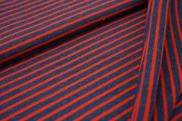 XXL Baumwollsweat Maya Streifen mittel navy blau melange und rostrot