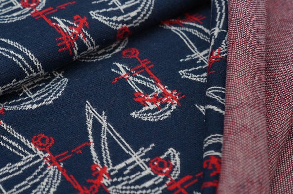 Jacquard-Sweat Ben Anker Boote Schiffe navy blau / off white / rot