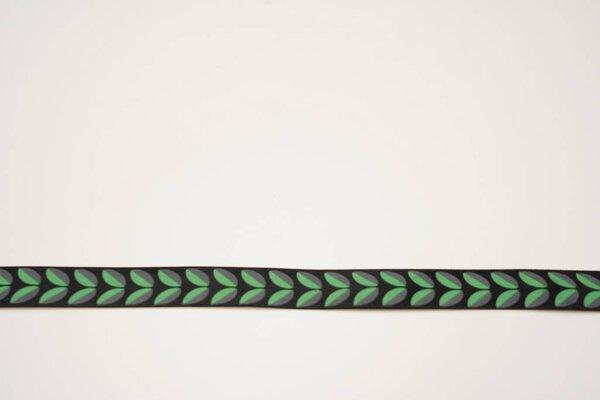 Satinband grün-graue Blätter auf schwarz 15 mm Zierband Dekoband