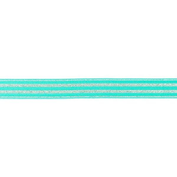 Schmales Gummiband mit 4 silbernen Glitzer Streifen auf mint 20 mm